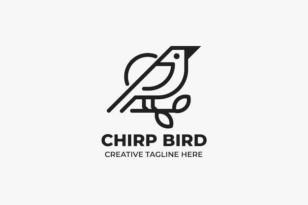 Ćwierkający ptak monoline logo firmy