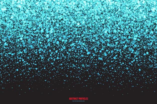 Cyan świecące spadające cząsteczki tło wektor