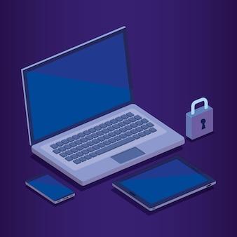 Cyber security isometrics ikon wektorowych ilustracji projektu