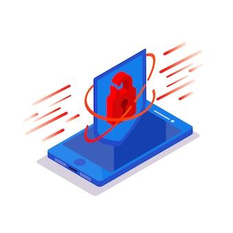 Cyber atak. izometryczny telefon z kłódką tarczą ochronną na niebieskim tle. hakowanie bazy danych użytkowników smartfonów. bezpieczeństwo nowych technologii.