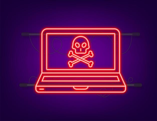 Cyber atak. neonowa ikona. wyłudzanie danych z haczykiem wędkarskim, laptopem, zabezpieczeniami internetowymi. czas ilustracja wektorowa.
