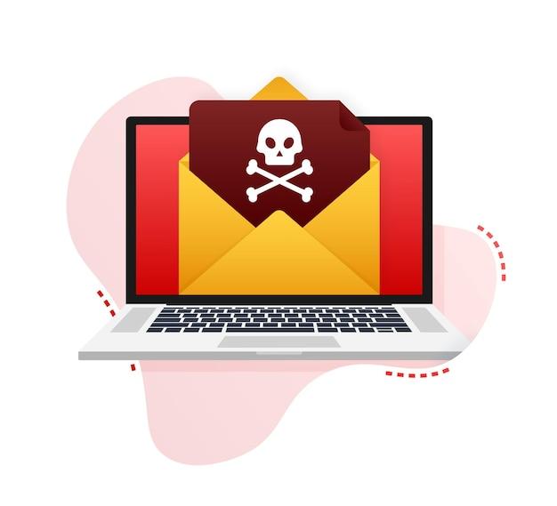 Cyber atak. wyłudzanie danych z haczykiem wędkarskim, laptopem, zabezpieczeniami internetowymi. czas ilustracja wektorowa.
