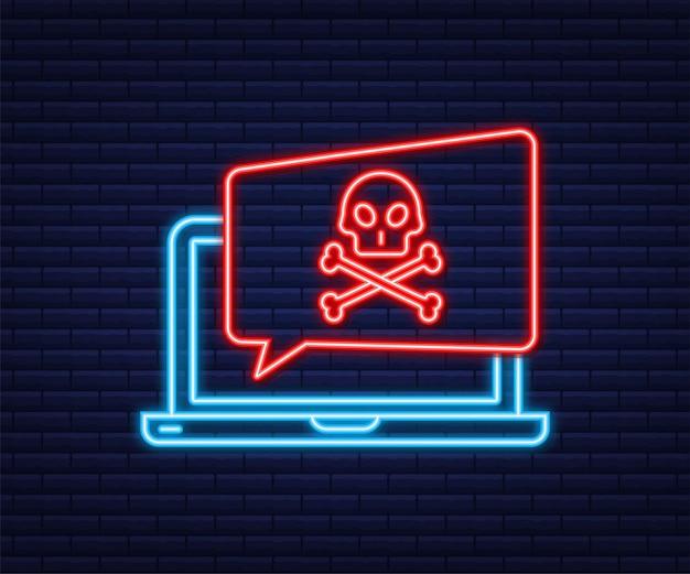 Cyber atak. wyłudzanie danych z haczykiem wędkarskim, laptopem, zabezpieczeniami internetowymi. neonowa ikona. czas ilustracja wektorowa.