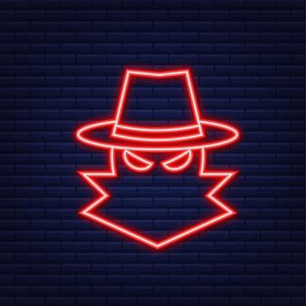 Cyber atak. wyłudzanie danych z haczykiem wędkarskim, laptopem, zabezpieczeniami internetowymi. neonowy styl. ilustracja wektorowa.