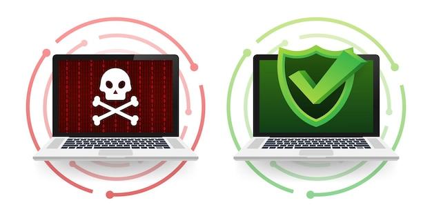 Cyber atak. wyłudzanie danych z haczykiem wędkarskim, laptopem, zabezpieczeniami internetowymi. ochrona danych. czas ilustracja wektorowa.