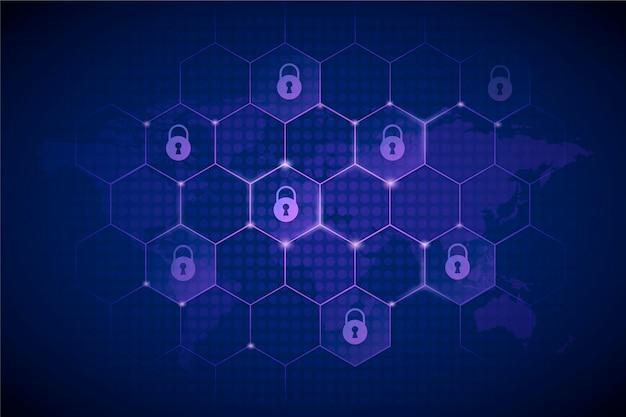 Cyber bezpieczeństwa tło z futurystycznymi elementami
