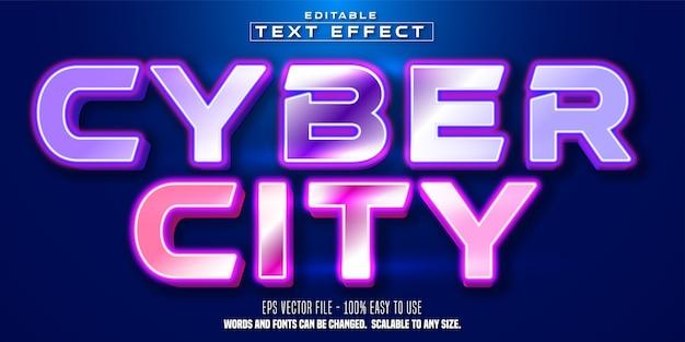 Cyber city tekst edytowalny efekt tekstowy w stylu cyberpunk