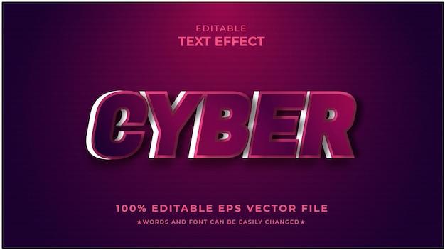 Cyber-edytowalny wektor premium z efektem tekstowym 3d