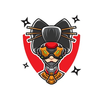 Cyber geisha head sport logo
