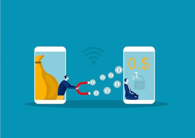 Cyber-haker złodziej kradnie pieniądze z biznesmena smartphone portfel online. ilustracja