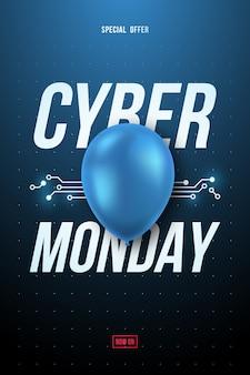 Cyber monday sale plakat z niebieskim błyszczącym balonem i tekstem.