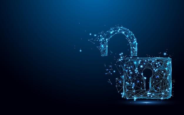 Cyber odblokuj symbol bezpieczeństwa tworzą cząstki linii