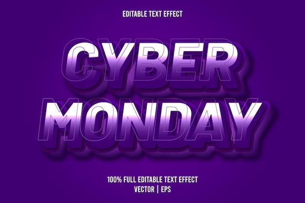 Cyber poniedziałek 3 wymiar edytowalny efekt tekstowy fioletowy kolor