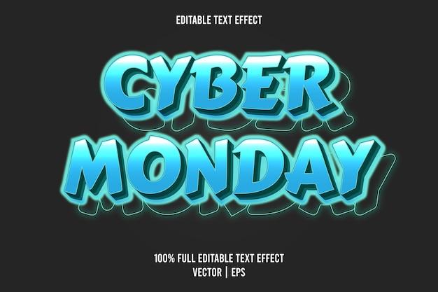 Cyber poniedziałek 3 wymiar edytowalny efekt tekstowy kolor cyjan
