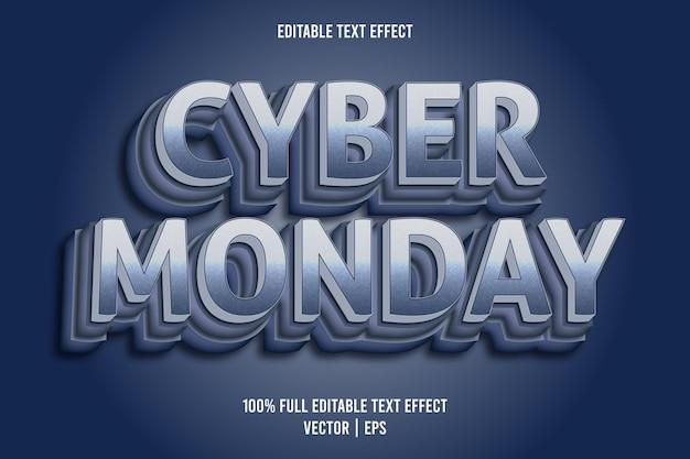 Cyber poniedziałek 3-wymiarowy edytowalny efekt tekstowy w kolorze niebieskim