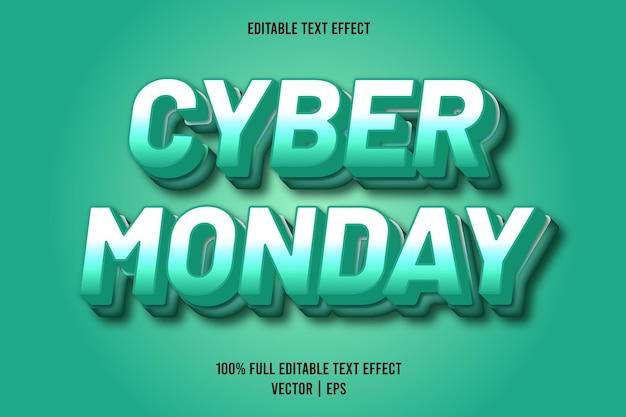 Cyber poniedziałek 3-wymiarowy edytowalny efekt tekstowy w kolorze turkusowym