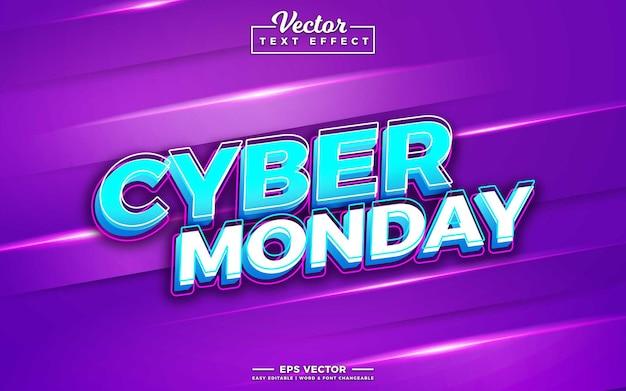 Cyber poniedziałek 3d edytowalny efekt tekstowy