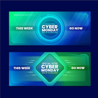 Cyber poniedziałek banery w płaskiej konstrukcji