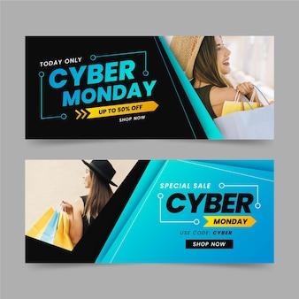 Cyber poniedziałek banery ze zdjęciem w płaskiej konstrukcji