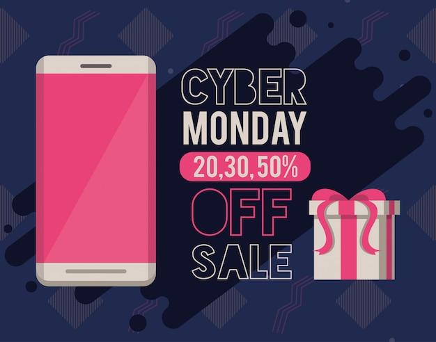 Cyber poniedziałek dzień plakat z smartphone