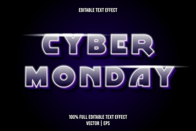 Cyber poniedziałek edytowalny efekt tekstowy fioletowy kolor