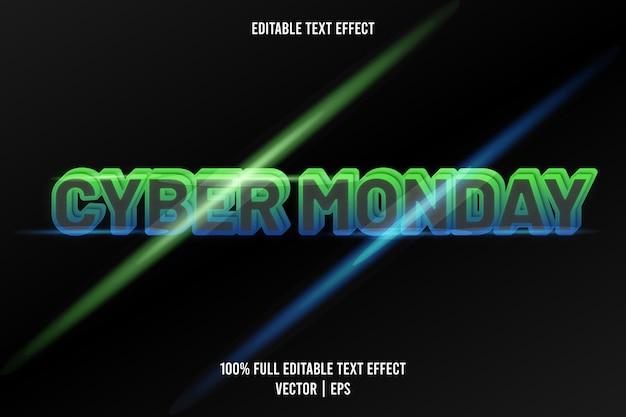 Cyber poniedziałek edytowalny efekt tekstowy w kolorze zielonym i niebieskim