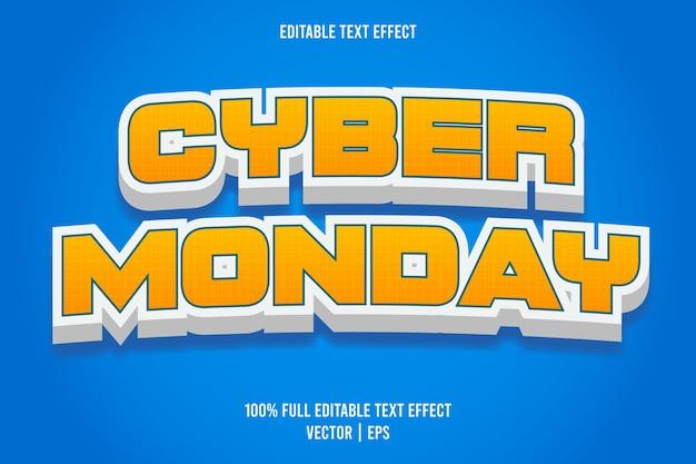 Cyber poniedziałek edytowalny efekt tekstowy w stylu komiksowym w kolorze żółtym i białym