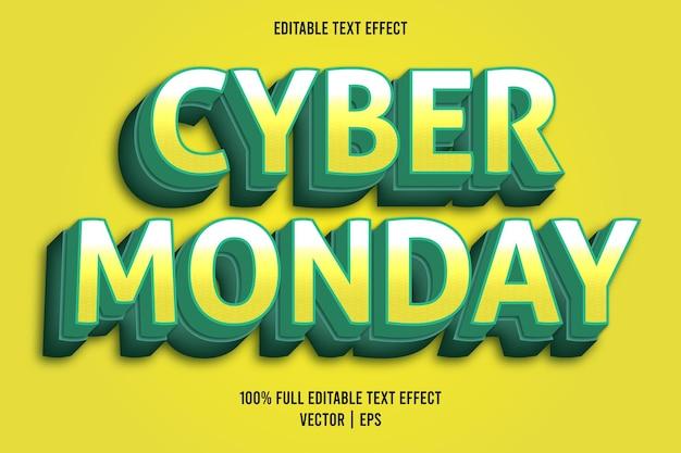 Cyber poniedziałek edytowalny efekt tekstowy w stylu komiksowym w kolorze żółtym i turkusowym