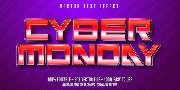 Cyber poniedziałek efekt edytowalny tekst w stylu retro