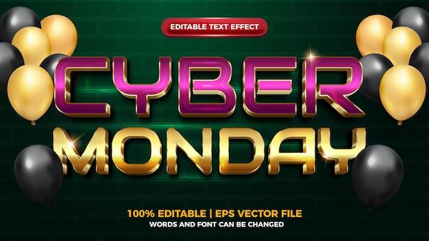 Cyber poniedziałek futurystyczny efekt tekstowy 3d editbale