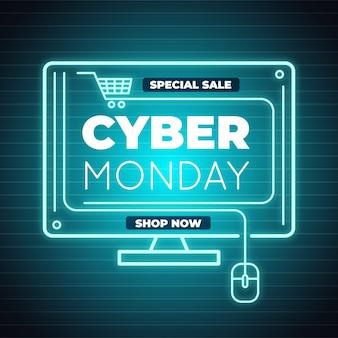 Cyber poniedziałek koncepcja w płaskiej konstrukcji