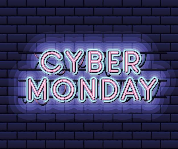 Cyber poniedziałek napis w neonowej czcionce w kolorze różowym i niebieskim na ciemnoniebieskim projekcie ilustracji