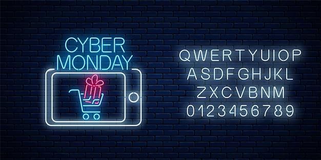 Cyber poniedziałek neon reklamowy baner sprzedaży aplikacji mobilnej z alfabetem na tle ciemnego ceglanego muru. rabaty i sprzedaż w aplikacji na smartfony ilustracja wektorowa