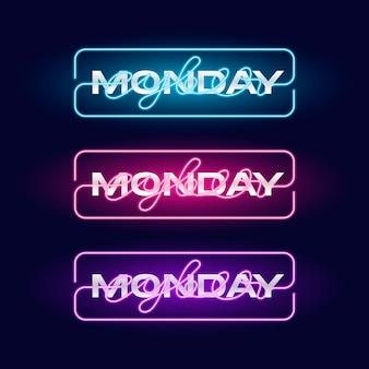 Cyber poniedziałek neon znak. jasny świecący neonowy baner reklamowy sprzedaży.