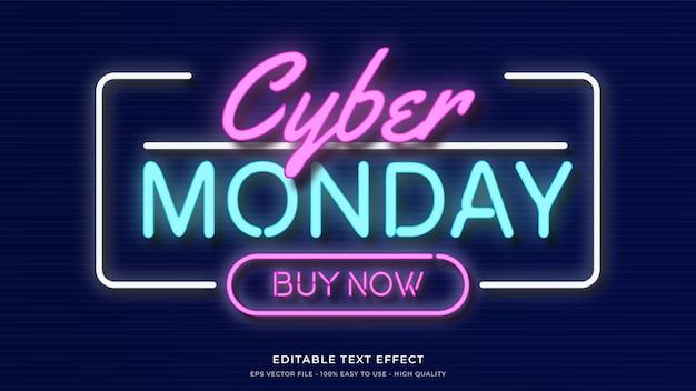 Cyber poniedziałek neonowa typografia premium edytowalny efekt tekstowy