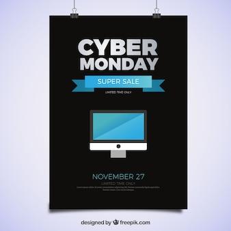 Cyber poniedziałek plakat z komputerem