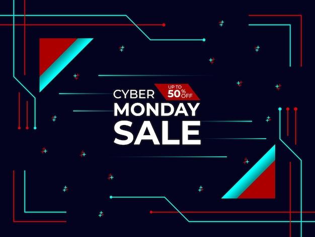 Cyber poniedziałek projekt banera sprzedaży cyber poniedziałek oferta plakatu projekt banera post w mediach społecznościowych