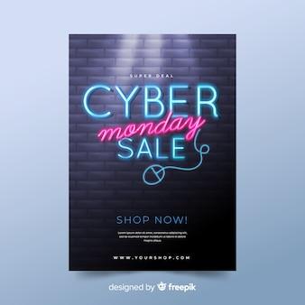 Cyber poniedziałek realistyczne szablon ulotki
