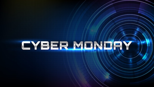 Cyber poniedziałek sprzedaż banner z interfejsem streszczenie futurystyczny koło