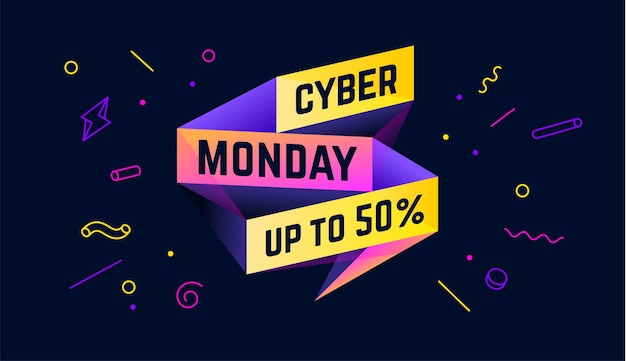 Cyber poniedziałek. sprzedaż banner z tekstem cyber poniedziałek dla emocji, motywacji.
