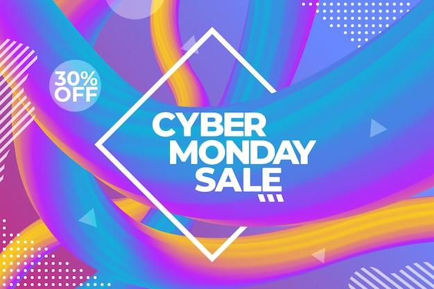 Cyber poniedziałek sprzedaż kolorowy plakat reklamowy lub szablon transparent