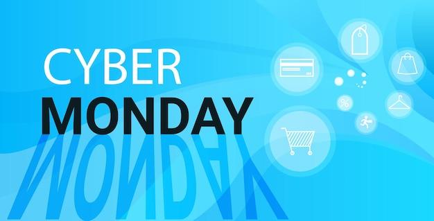 Cyber poniedziałek sprzedaż online plakat reklama ulotka wakacje zakupy promocja baner rabat koncepcja pozioma ilustracja wektorowa