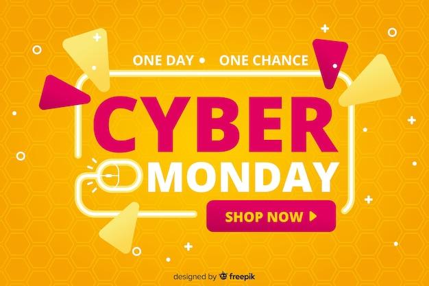 Cyber poniedziałek sprzedaż płaska konstrukcja baner