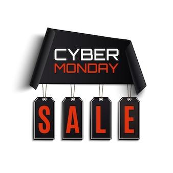 Cyber poniedziałek sprzedaż streszczenie. zakrzywiony papierowy baner z metkami z ceną na białym tle. ilustracja.