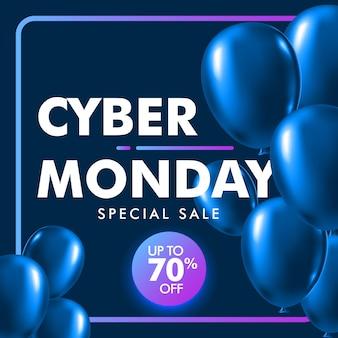 Cyber poniedziałek sprzedaż tło z błyszczący niebieski balon.