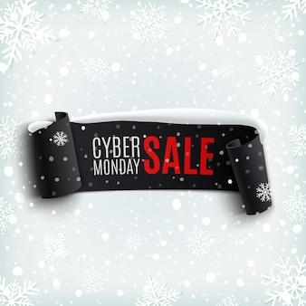 Cyber poniedziałek sprzedaż tło z czarnym realistycznym sztandarem wstążki, śniegiem i płatkami śniegu. ilustracja.