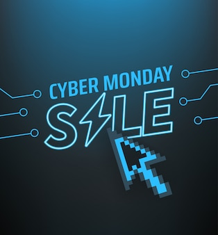 Cyber poniedziałek sprzedaż transparent. koncepcja oferty sezonowej
