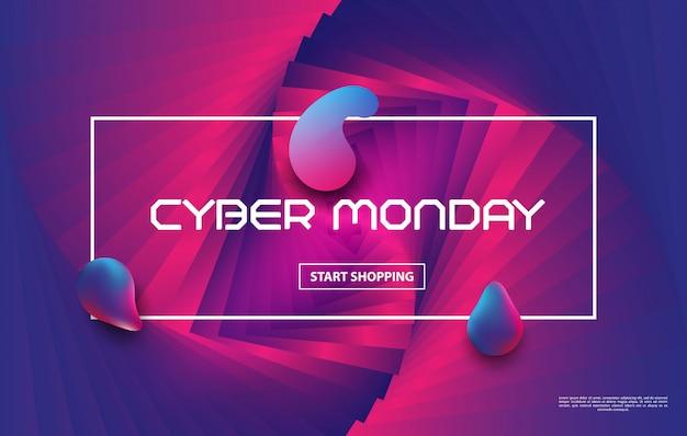 Cyber poniedziałek sprzedaż w stylu techno. projekt tła w kolorze płynnym. skład płynnej postaci gradientu.