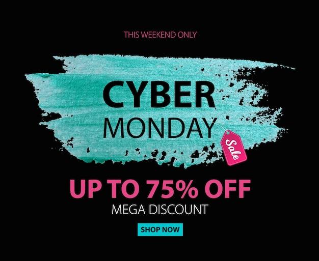 Cyber poniedziałek sprzedaż zniżki tło dla reklamy komercyjnej. do 75 procent zniżki.
