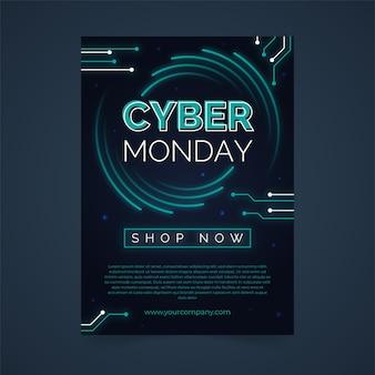 Cyber poniedziałek szablon ulotki w płaskiej konstrukcji